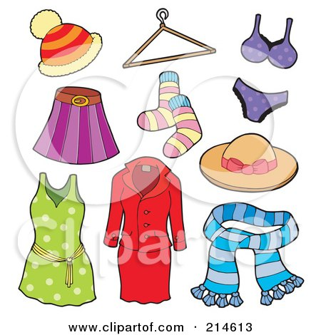 Royalty-Free (RF) Clipart Illustration of a Digital Collage Of Ladies Apparel by visekart