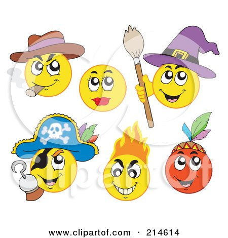 Royalty-Free (RF) Clipart Illustration of a Digital Collage Of Yellow Emoticons - 3 by visekart
