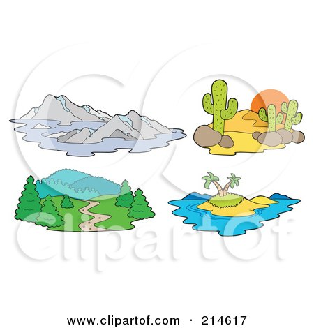Royalty-Free (RF) Clipart Illustration of a Digital Collage Of Landscapes by visekart