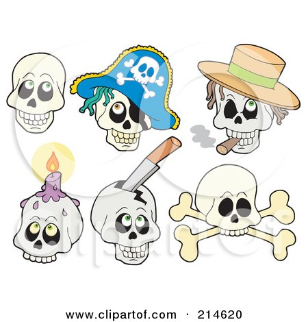 Royalty-Free (RF) Clipart Illustration of a Digital Collage Of Skull Faces by visekart