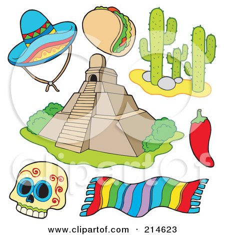 Royalty-Free (RF) Clipart Illustration of a Digital Collage Of Mexican Items by visekart