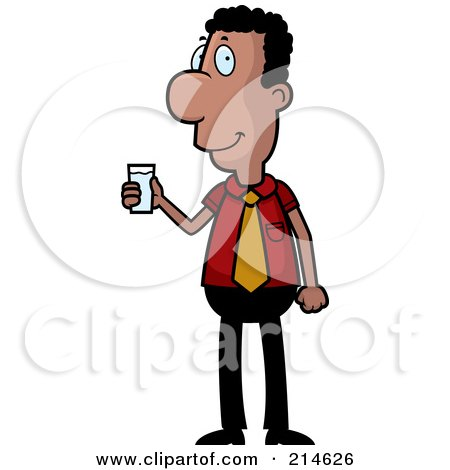 Royalty-Free (RF) Clipart Illustration of a Black Businessman Holding A Cup Of Water by Cory Thoman