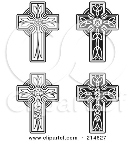 Royalty-Free (RF) Clipart Illustration of a Digital Collage Of Four Black And White Celtic Crosses by Cory Thoman