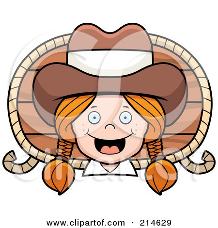 Royalty-Free (RF) Clipart Illustration of a Happy Cowgirl With Braids Over A Wood Plaque And Rope by Cory Thoman