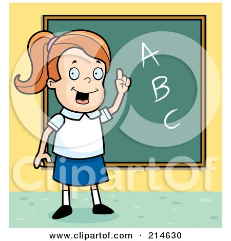 Smart School Girl With ABCs On A Chalk Board Posters, Art Prints