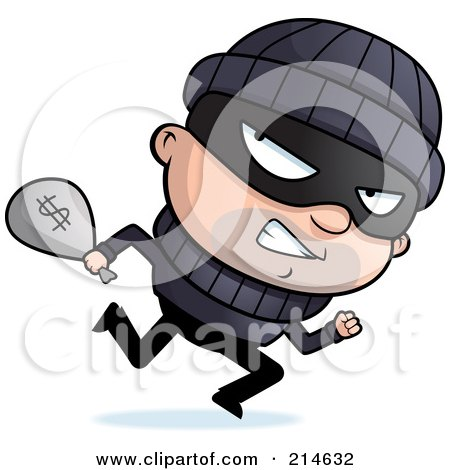 Royalty-Free (RF) Clipart Illustration of a Running Burglar Looking Back And Carrying A Sack Of Cash by Cory Thoman