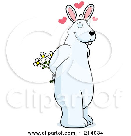 Royalty-Free (RF) Clipart Illustration of a Big White Rabbit Standing On His Hind Legs And Holding Flowers by Cory Thoman
