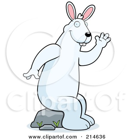 Royalty-Free (RF) Clipart Illustration of a Big White Rabbit Sitting On A Rock And Waving by Cory Thoman