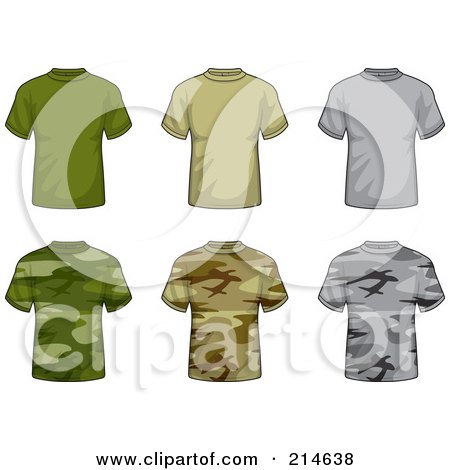 Royalty-Free (RF) Clipart Illustration of a Digital Collage Of Six Solid And Camouflage T Shirts by Cory Thoman
