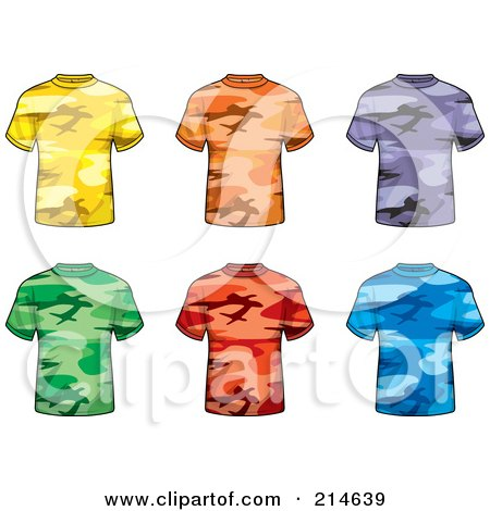 Royalty-Free (RF) Clipart Illustration of a Digital Collage Of Six Colorful Camouflage T Shirts by Cory Thoman