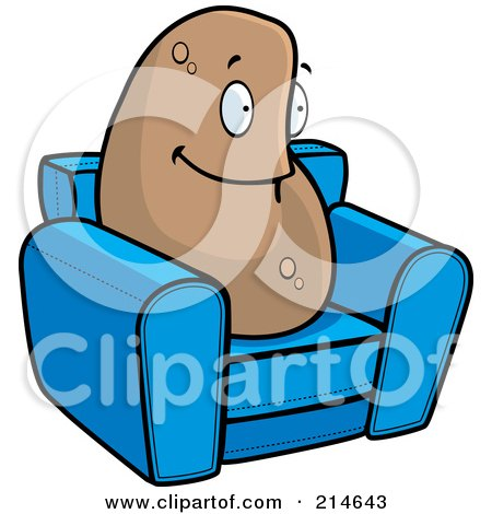 Royalty-Free (RF) Clipart Illustration of a Lazy Couch Potato On A Blue Chair by Cory Thoman