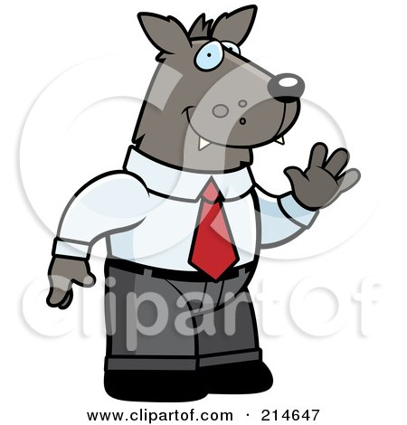 Royalty-Free (RF) Clipart Illustration of a Business Wolf Man In A Suit by Cory Thoman