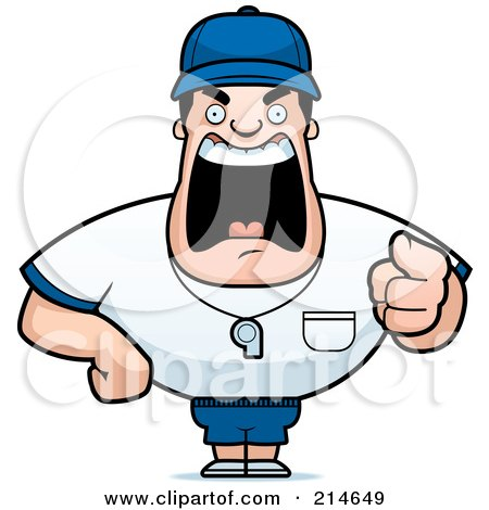 Royalty-Free (RF) Clipart Illustration of a Tough Coach Man Pointing And Yelling by Cory Thoman