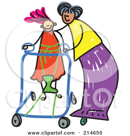 Royalty-Free (RF) Clipart Illustration of a Childs Sketch Of A Mother Helping Her Disabled Daughter by Prawny