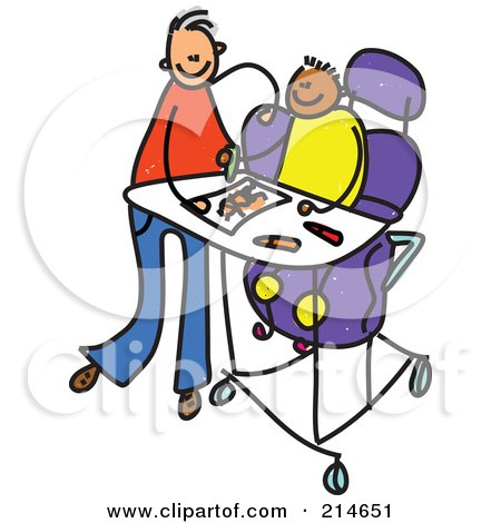 Royalty-Free (RF) Clipart Illustration of a Childs Sketch Of A Father Feeding A Disabled Boy by Prawny