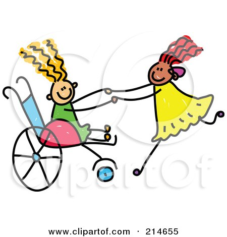 Royalty-Free (RF) Clipart Illustration of a Childs Sketch Of A Girl In A Wheelchair Playing With Her Friend by Prawny