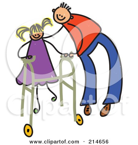 Royalty-Free (RF) Clipart Illustration of a Childs Sketch Of A Father Helping A Girl Use A Walker by Prawny