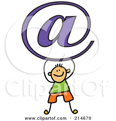 Royalty-Free (RF) Clipart Illustration of a Childs Sketch Of An Email Boy by Prawny