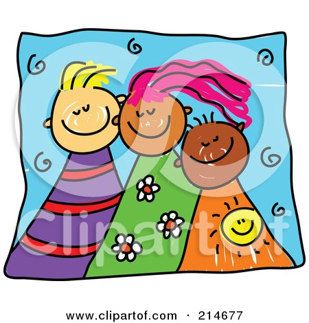 Royalty-Free (RF) Clipart Illustration of a Childs Sketch Of Three Happy Kids by Prawny