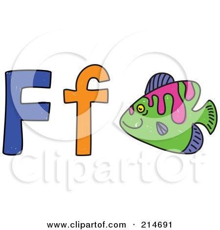 Royalty-Free (RF) Clipart Illustration of a Childs Sketch Of F Is For Fish by Prawny