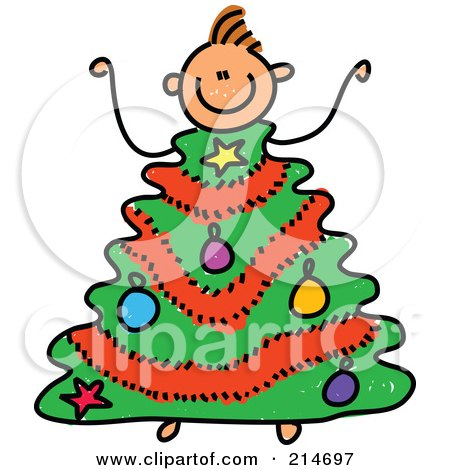 Royalty-Free (RF) Clipart Illustration of a Childs Sketch Of A Boy With A Christmas Tree Body by Prawny