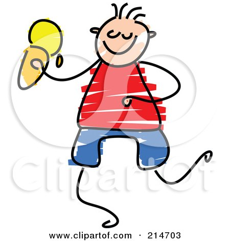 Royalty-Free (RF) Clipart Illustration of a Childs Sketch Of A Boy Eating Ice Cream by Prawny