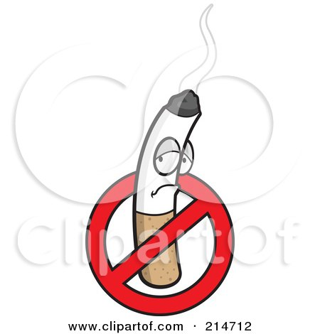 Royalty-Free (RF) Clipart Illustration of a Pouting Cigarette In An Restriction Symbol by Cory Thoman