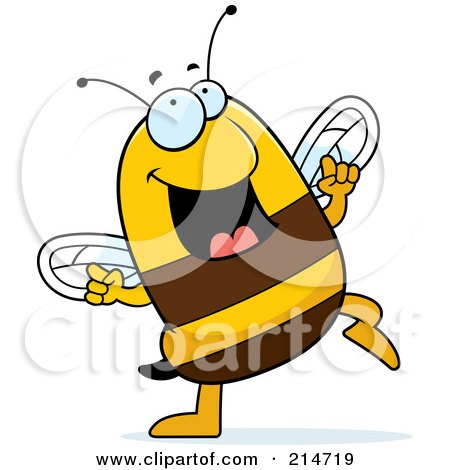 Royalty-Free (RF) Clipart Illustration of a Happy Dancing Bee by Cory Thoman