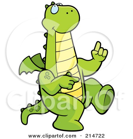Royalty-Free (RF) Clipart Illustration of a Happy Dancing Green Dragon by Cory Thoman