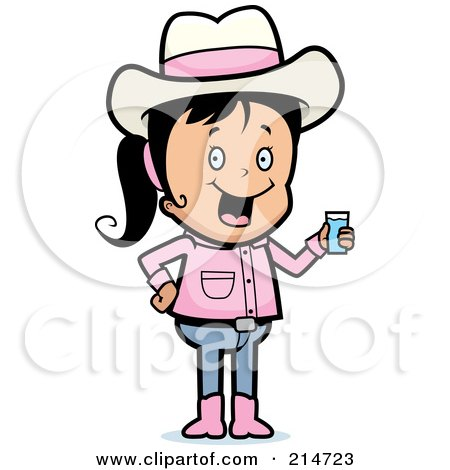 Royalty-Free (RF) Clipart Illustration of a Black Haired Cowgirl Holding A Glass Of Water by Cory Thoman