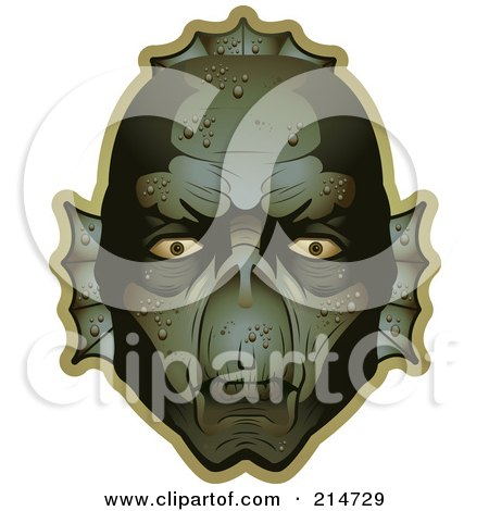 Royalty-Free (RF) Clipart Illustration of a Creepy Swamp Monster Face by Cory Thoman