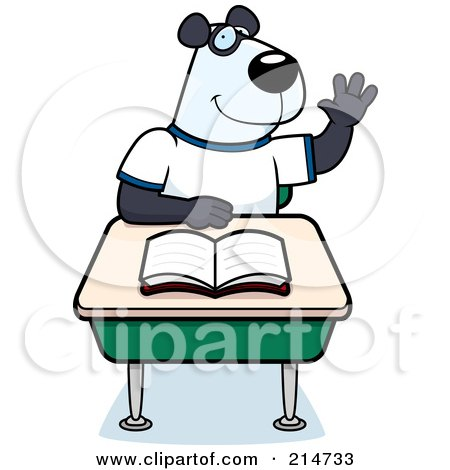 Royalty-Free (RF) Clipart Illustration of a Smart Panda Student Raising His Hand In Class by Cory Thoman