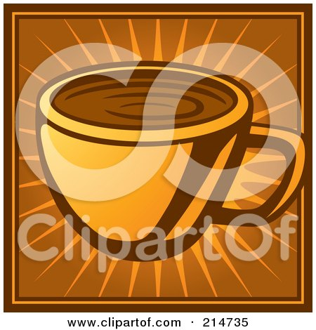 Royalty-Free (RF) Clipart Illustration of a Coffee Cup On An Orange And Brown Burst by Cory Thoman