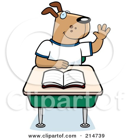 Royalty-Free (RF) Clipart Illustration of a School Dog Raising His Hand And Sitting At A Desk by Cory Thoman