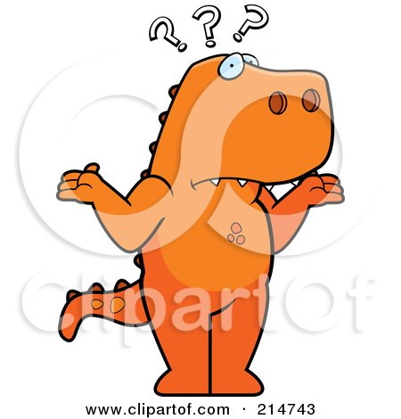 Royalty-Free (RF) Clipart Illustration of a Shrugging And Confused T Rex Dinosaurs by Cory Thoman