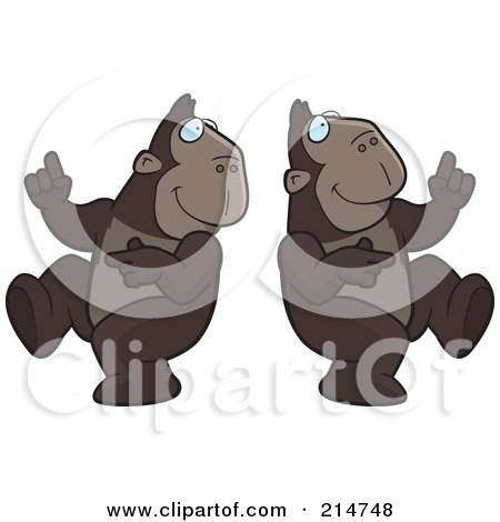 Royalty-Free (RF) Clipart Illustration of a Digital Collage Of A Dancing Ape In Different Poses by Cory Thoman