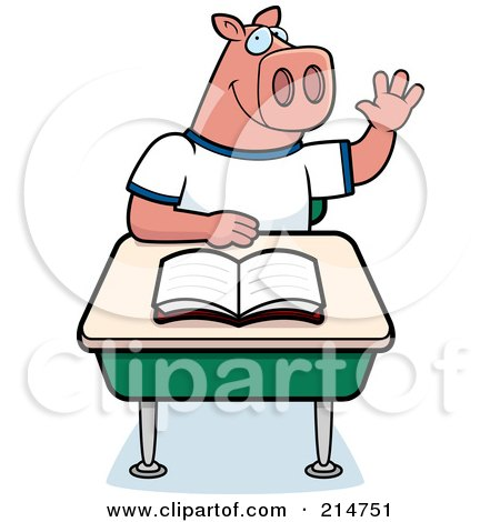 Royalty-Free (RF) Clipart Illustration of a Smart Pig Student Raising His Hand In Class by Cory Thoman