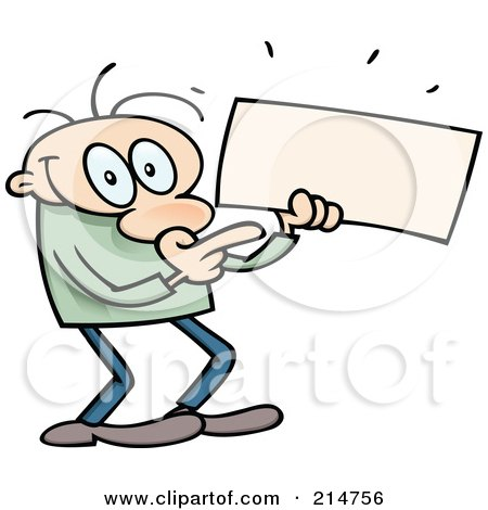 Royalty-Free (RF) Clipart Illustration of a Toon Guy Holding And Pointing To A Long Blank Sign by gnurf