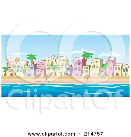 Royalty-Free (RF) Clipart Illustration of a Beachfront Buildings, Palm Trees And Umbrellas Along The Water by Holger Bogen