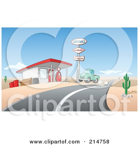 Royalty-Free (RF) Clipart Illustration of a Vintage Green Pickup Truck Pulling Into A Gas Station In A Desert by Holger Bogen