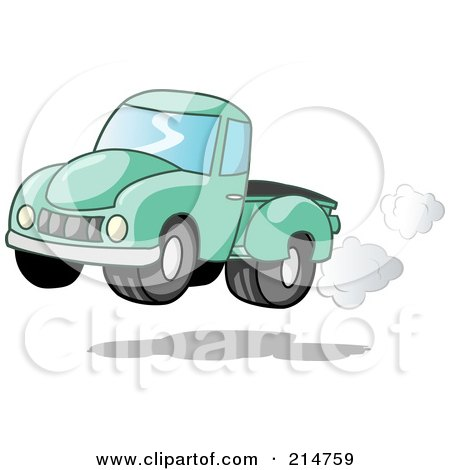 Royalty-Free (RF) Clipart Illustration of a Vintage Green Pickup Truck With Exhaust Clouds by Holger Bogen