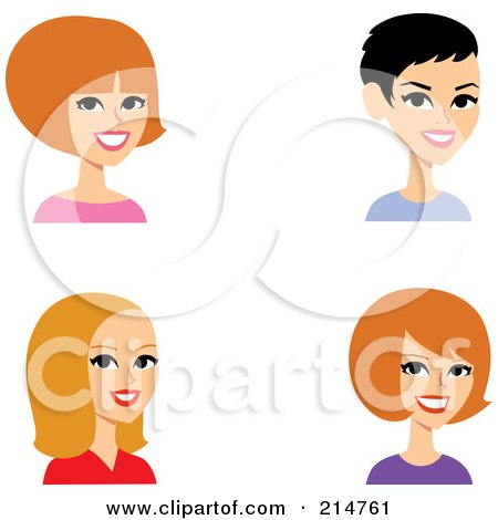 Royalty-Free (RF) Clipart Illustration of a Digital Collage Of Four Caucasian Ladies Smiling by Monica