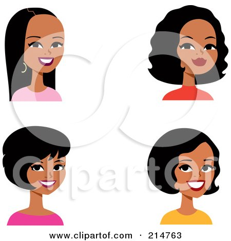 Royalty-Free (RF) Clipart Illustration of a Digital Collage Of Four Hispanic Ladies Smiling by Monica