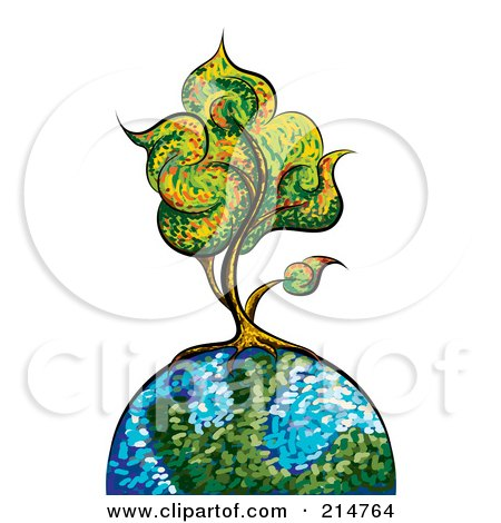 Royalty-Free (RF) Clipart Illustration of a Colorful Painted Tree On A Globe by MilsiArt