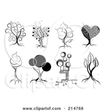 Royalty-Free (RF) Clipart Illustration of a Digital Collage Of Four Black And White Artistic Tree Designs by MilsiArt
