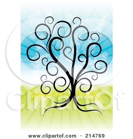 Royalty-Free (RF) Clipart Illustration of a Swirly Tree Over A Shining Spring Time Background by MilsiArt