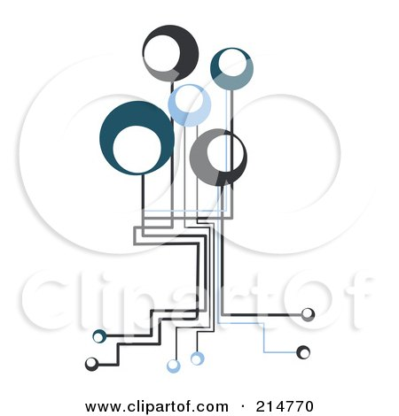 Royalty-Free (RF) Clipart Illustration of a Techno Circuit Connection Tree by MilsiArt