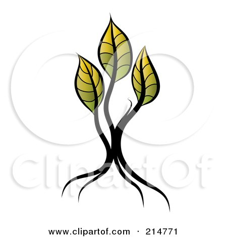 Royalty-Free (RF) Clipart Illustration of a Young Seedling Tree With Three Yellow And Green Leaves by MilsiArt