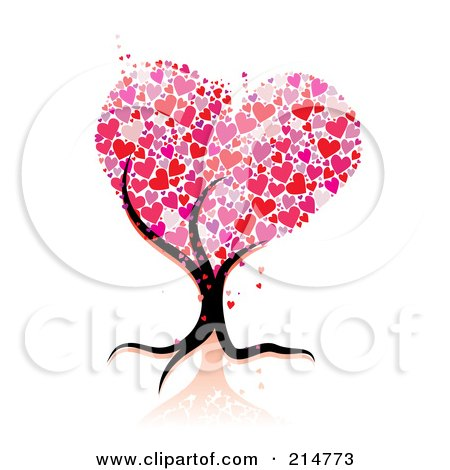 Royalty-Free (RF) Clipart Illustration of a Strong Tree Trunk Holding Up Heart Foliage by MilsiArt
