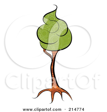 Royalty-Free (RF) Clipart Illustration of a Slender Tree Trunk With Green Foam Foliage by MilsiArt
